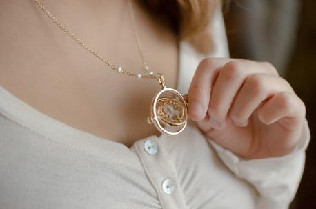 collar giratiempo color oro harry potter gold + envio gratis