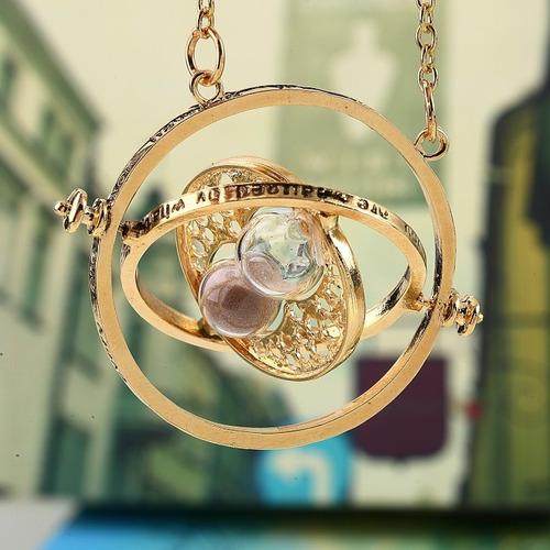 collar giratiempo hermione harry potter chapa de oro 18k
