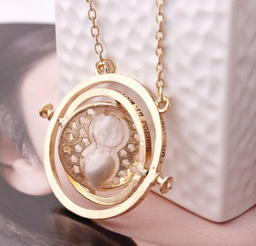 collar giratiempo hermione harry potter chapa oro hermoso