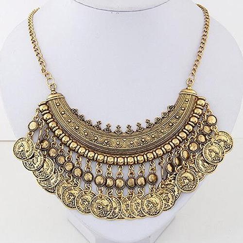 collar gitano con monedas collar de moda