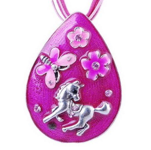 collar gota caballo pony flores mariposa rosa regalo n-065