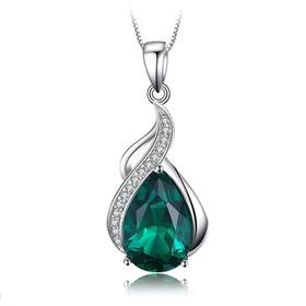 Collar Gota Para Mujer Con Esmeralda En Plata 925