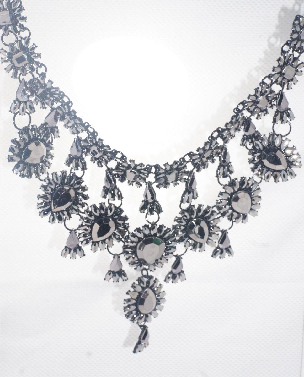Collar Grande Maxi Collar Flores Negras D Pedrería 01 - $ 330.00 en ...