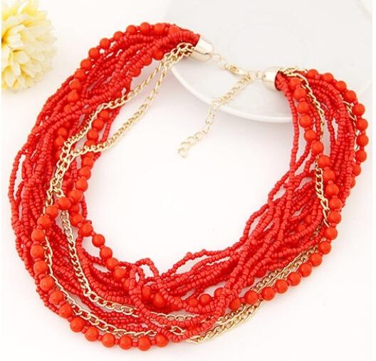 1c804ea1143e Collar Harmonie Accesorios Multicapa Cadena Mostacilla Rojo ...