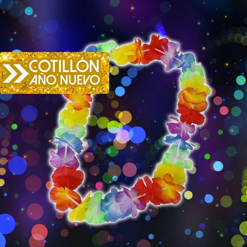collar hawaiano especial año nuevo  x3 - cotillón&carnaval