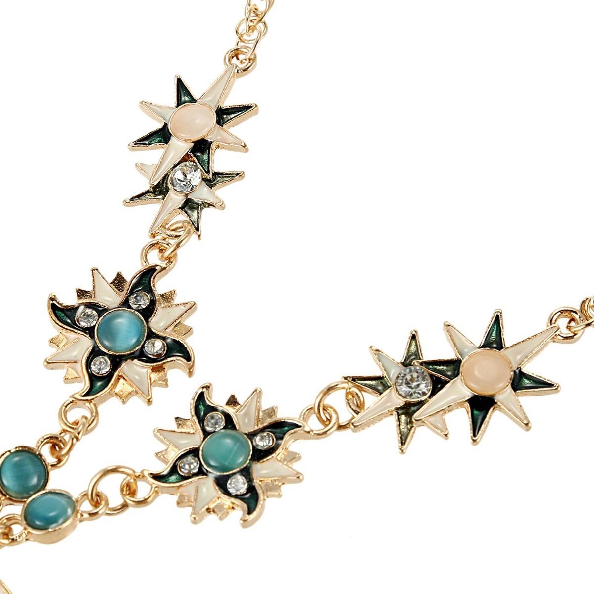 70c01fc6df68 collar hermosas piedras en media luna dorada moda para mujer. Cargando zoom.