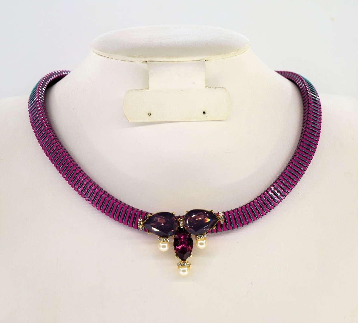 795dc9009a56 collar hermoso para dama metálico dije de piedra sintética. Cargando zoom.