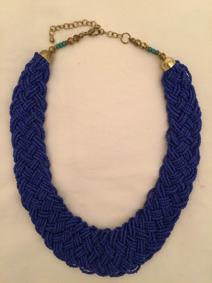 mejor sitio web eb0c5 39e99 Collar H&m De Mostacillas Azules