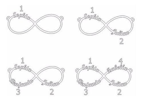 collar infinito de 4 nombres en plata .925