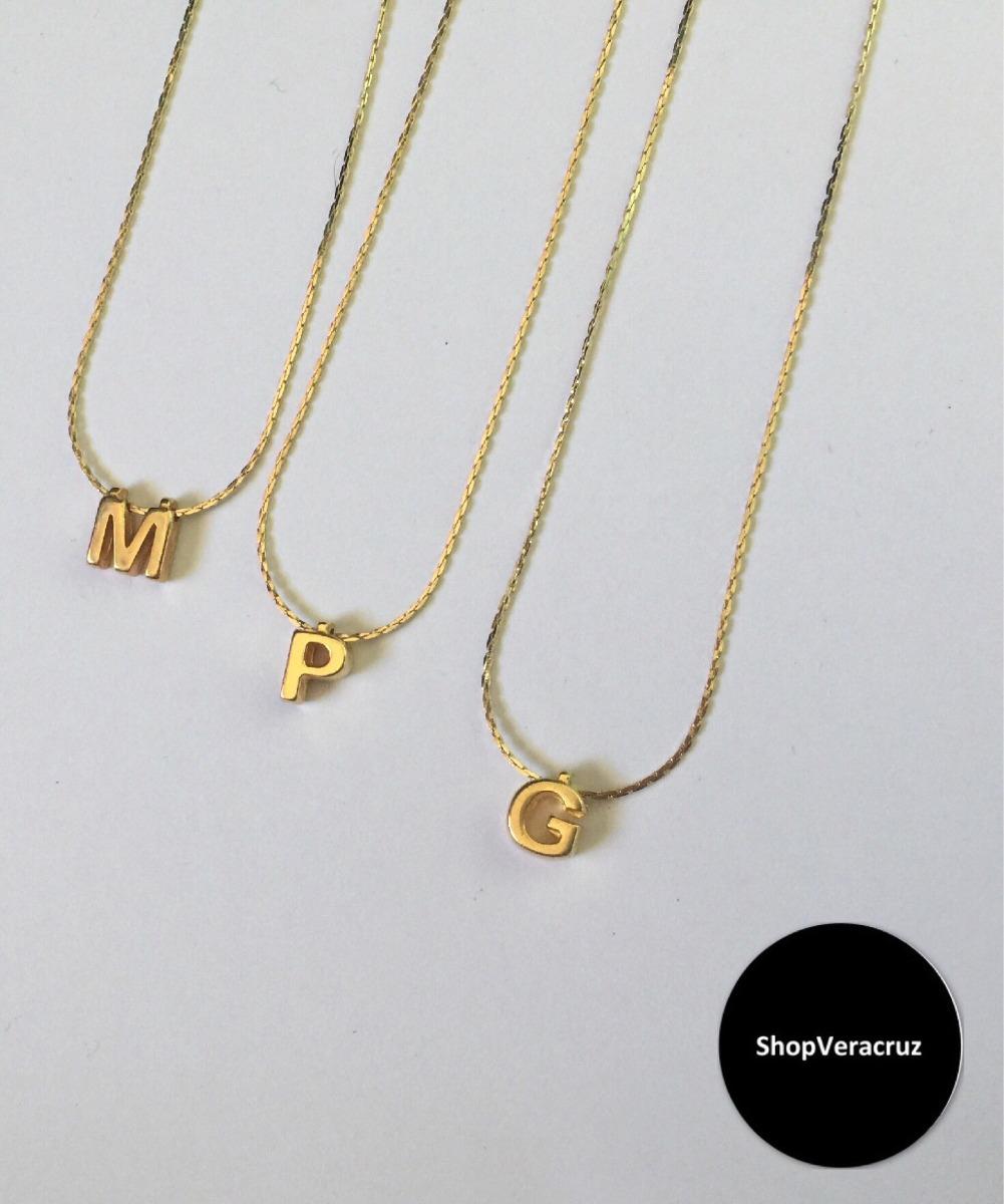 ba24f2e3a644 Collar Inicial Chapa De Oro 10k -   250.00 en Mercado Libre