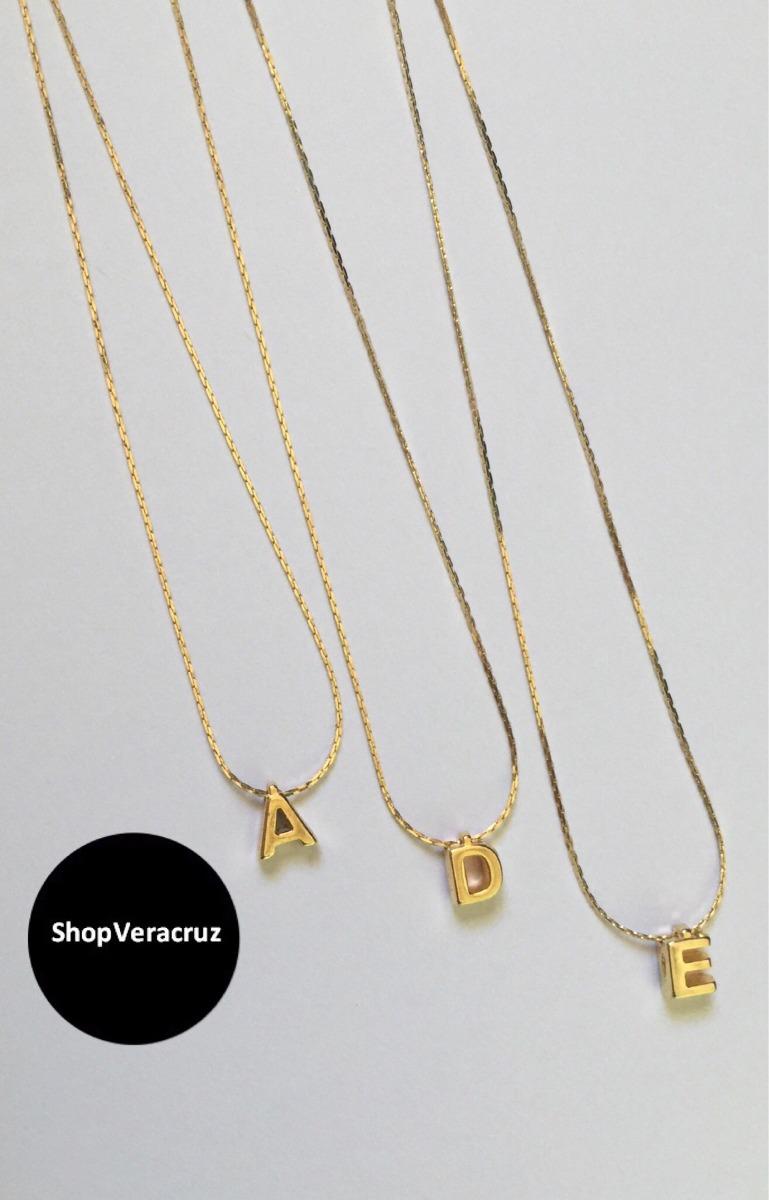 7039b3621afd Collar Inicial Chapa De Oro 10k -   250.00 en Mercado Libre