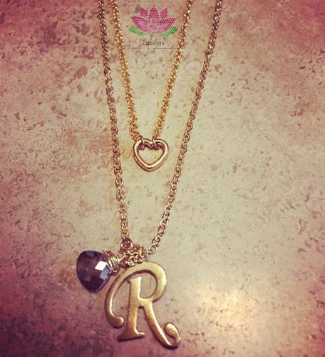 collar inicial doble de chapa de oro