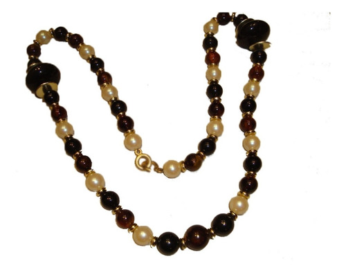 collar italiano c/ perlas blancas negras marrones imperdible