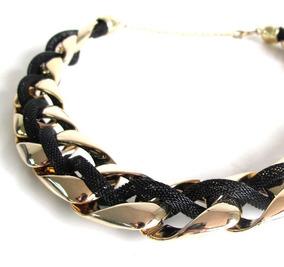 7ad3054a999e Collar Gargantilla Negro Con Dorado - Joyas y Bijouterie en Mercado ...