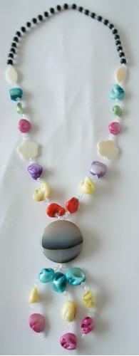 collar largo de madreperla y onix multicolor