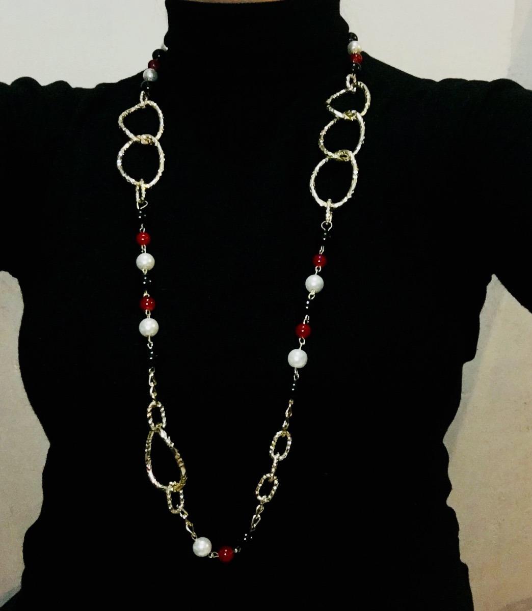 896261f0d248 Collar Largo De Moda Con Perlas De Cristal Y Cadenas -   280.00 en ...