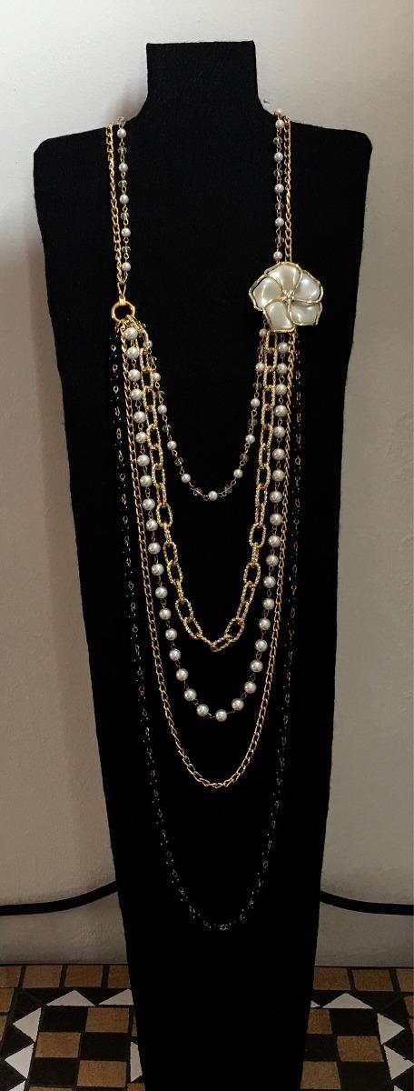 6bf14a30691b Collar Largo De Moda Para Damas Con Perlas Y Cristales -   350.00 en ...