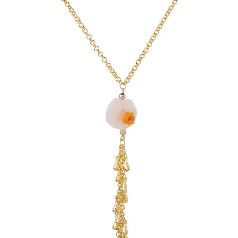 4b8dcc0af932 Collar Largo Piedra Flor Tono Naranja Dama Lam Oro 24k -   699.00 en ...