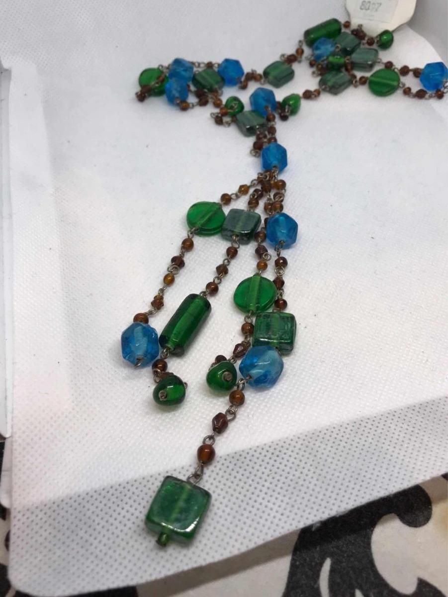 ea4aacf896b2 collar largo vidrio importado estilo rosario verde turquesa. Cargando zoom.