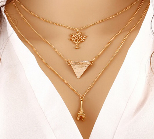 collar layer capas triángulo amor arbol eiffel fashion 401gs