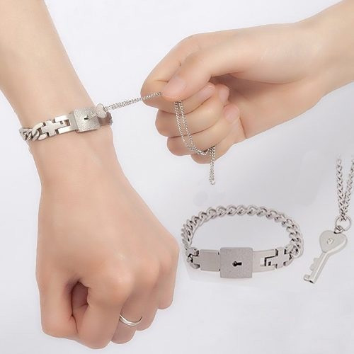 collar llave y pulsera candado novios pareja inoxidable