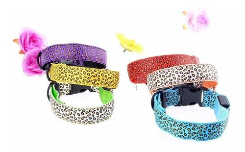 collar luminoso perros gatos leopard print  varios colores