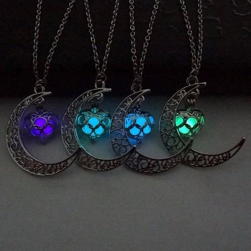 collar luna corazón brilla oscuridad original + envió regalo
