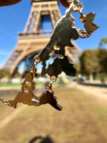 collar mapamundi dije oro y plata regalo viajero amistad