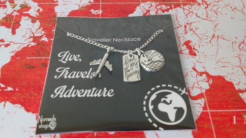 collar mapamundi viajero mochilero wanderlust mapa mundo