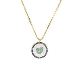 9087deb524c Collar Medalla Corazón Piedra Tono Azul Bañado Oro 24k