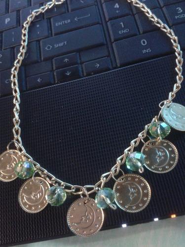 collar medallas,cristal de swarosky, nuevo