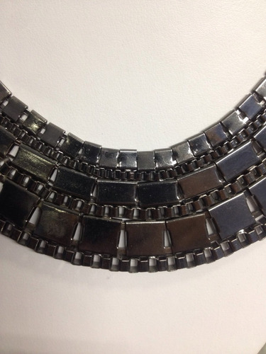 collar metalico estilo cleopatra titanio nuevo