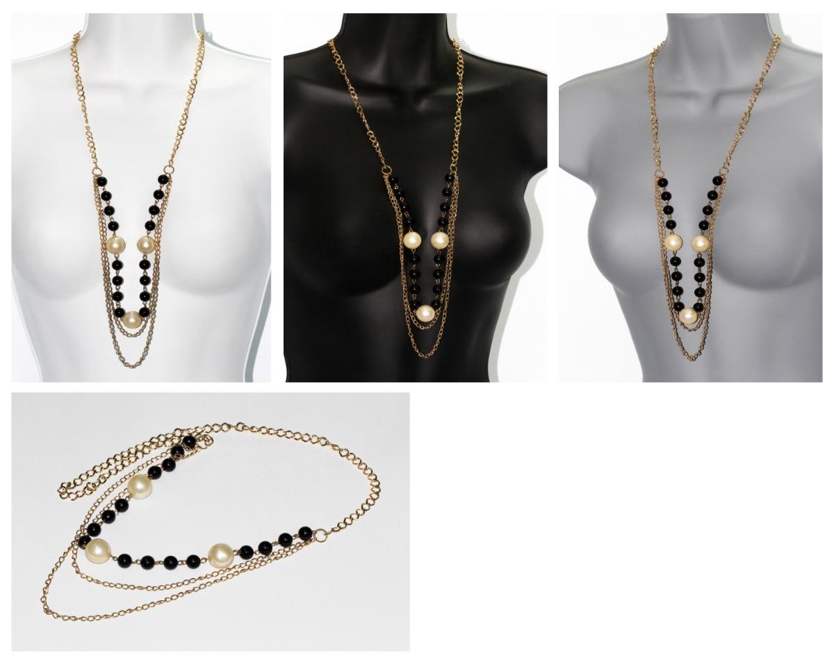 f0cf06266b79 collar moda casual dorado negro perla bisutería dama cc654. Cargando zoom.
