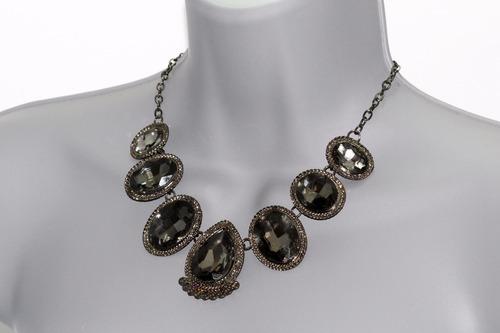 collar moda cristales y cadenas gris oxford cc493