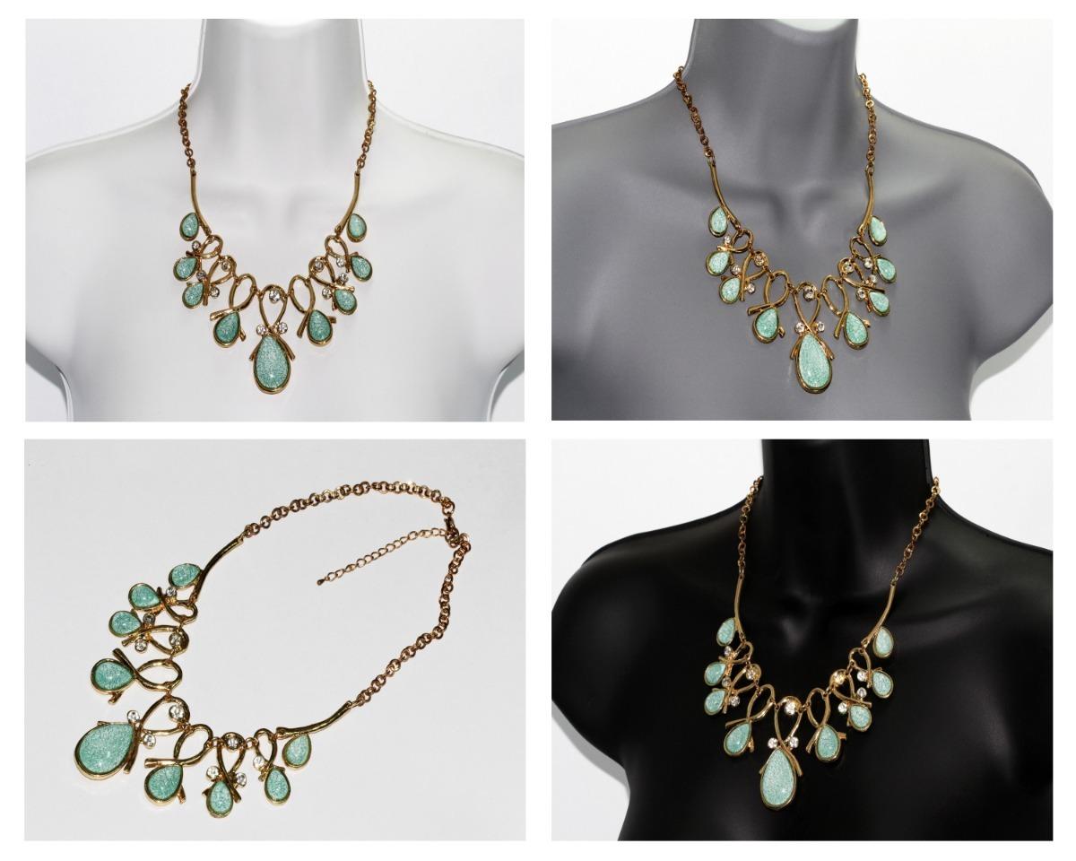 d24de7c8bf0d collar moda dama dorado cristales verde bisutería cc521. Cargando zoom.
