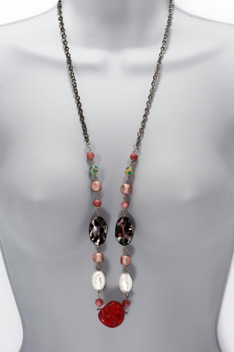 01830783c3c0 collar moda dama mujer vintage largo color rojo negro cc298. Cargando zoom.