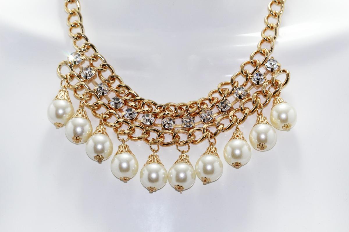 ba19198d17f1 collar moda dama mujer vintage perlas pedrería dorado cc213. Cargando zoom.