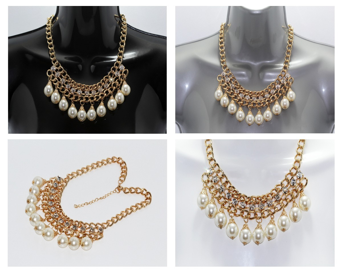 032159db9940 collar moda dama mujer vintage perlas pedrería dorado cc213. Cargando zoom.