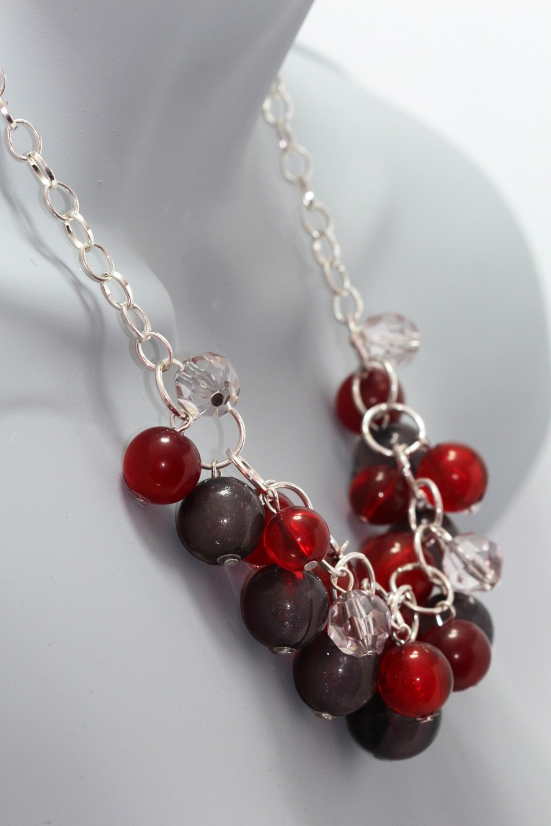 2523608eb2a3 collar moda dama mujer vintage perlas rojas y negras cc281. Cargando zoom.