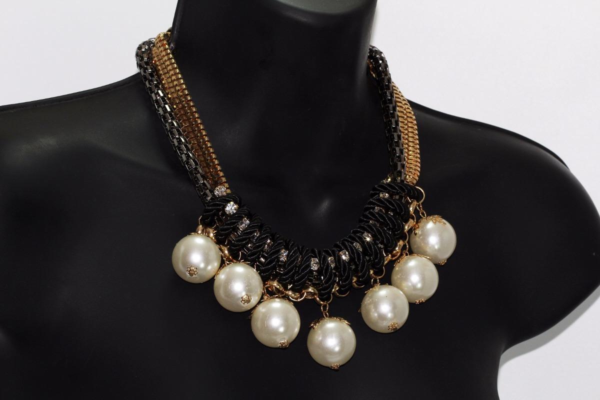 a33810d41946 collar moda dorado con laso negro cristales y perlas cc415. Cargando zoom.