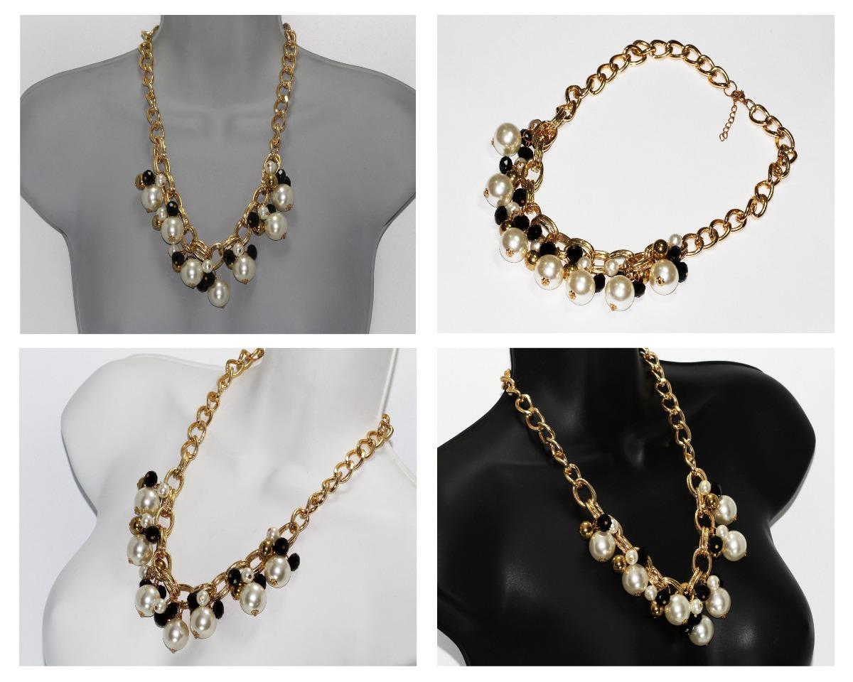ee84d3347463 collar moda dorado dama mujer vintage negro y perlas cc361. Cargando zoom.