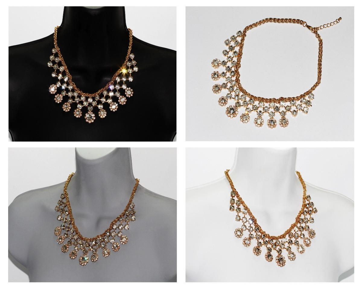 5941eaf563da Collar Moda Dorado Flores Con Finos Cristales Cc450 -   289.00 en ...