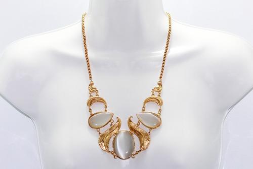 collar moda dorado incrustaciones hojas  acrílico aretes 177