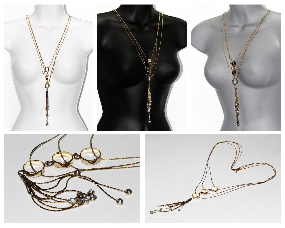 34299d61fe12 Collar Moda Finas Cadenas Y Aros Dorados Cc488 -   279.00 en Mercado ...
