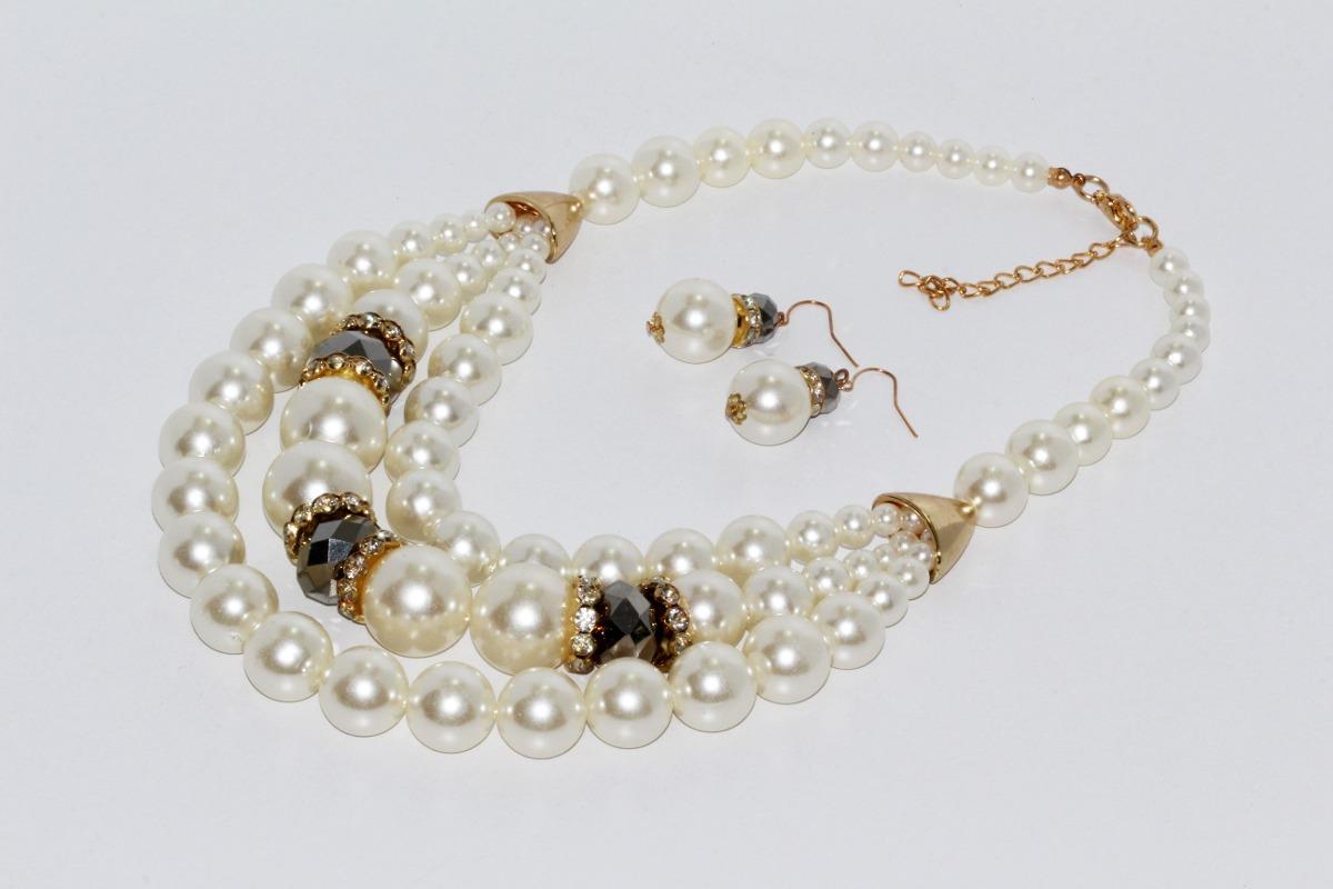 14f976e5f94c Collar Moda Moda Dama Vinatge Esferas Blanco Aretes Cc219 -   289.00 ...