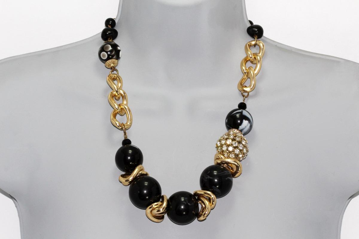 Collar Moda Perlas Negras Cadena Dorada, Cristales Y