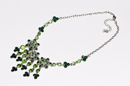 collar moda plateado finos cristales verde flores cc491