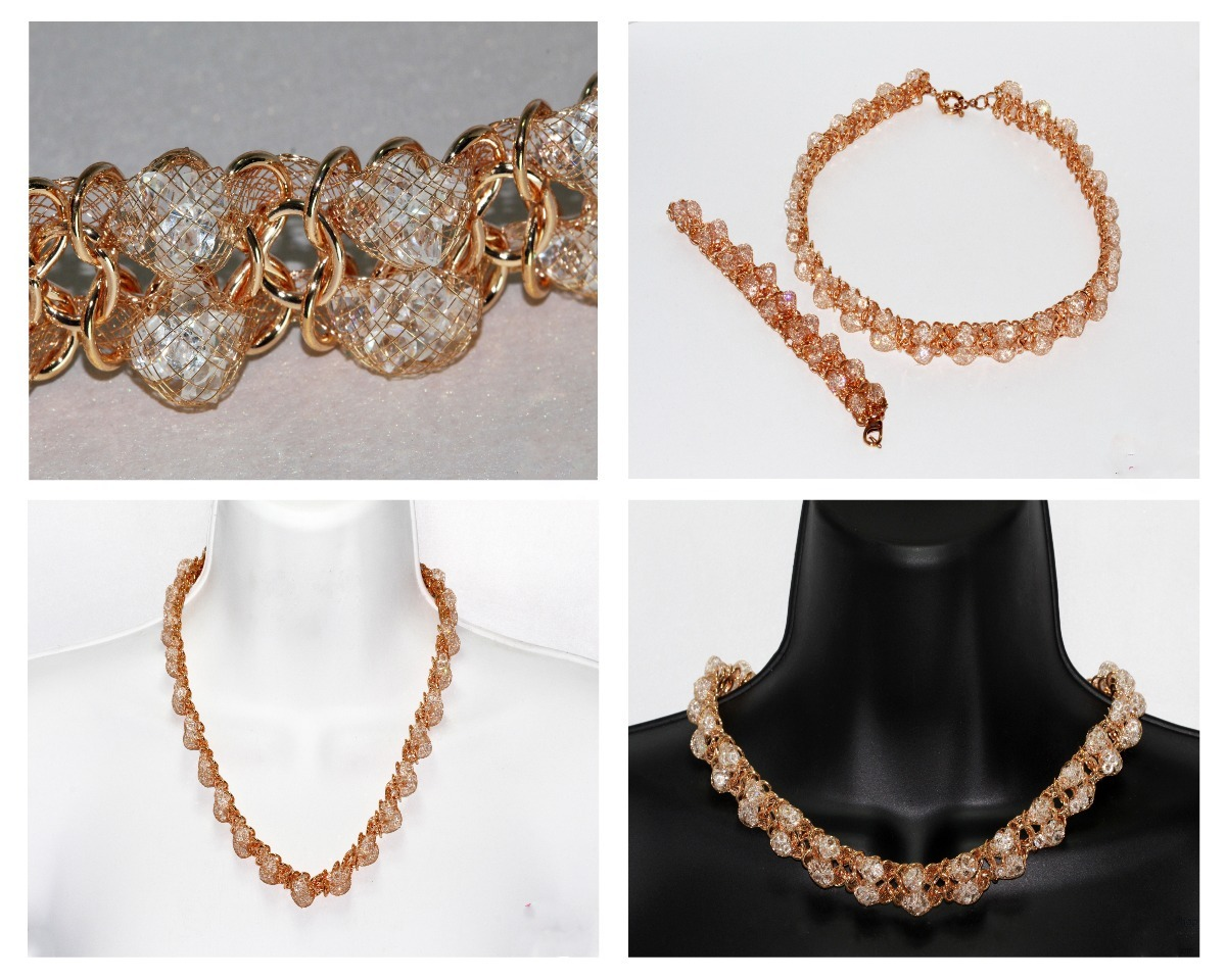 Collar Moda Pulsera Dama Mujer Vintage Finos Cristales