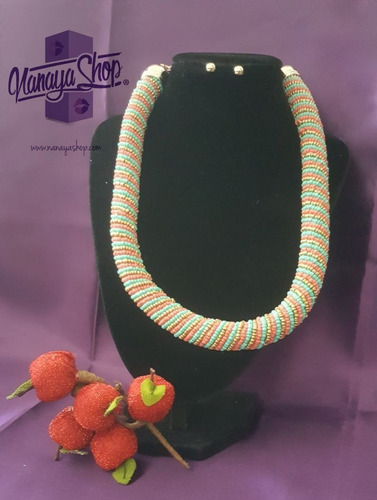 collar  mostacilla accesorios elegante moda colores mujer