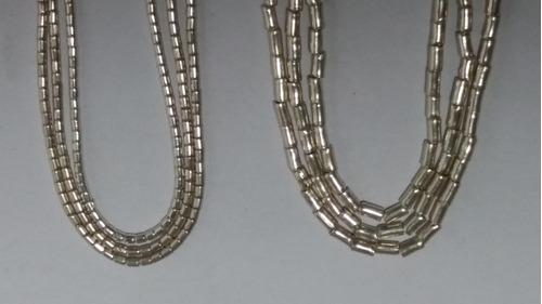 collar mostacilla gruesa de plata 50 centímetros